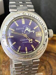 Vostok Vintage Automatic Watch Amphibian Scuba Diving Soviet Watches 2416B #2559