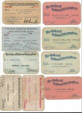 Lot of (9) Railroad Telegraphers & Canadian National Railways Passes (1921-49)