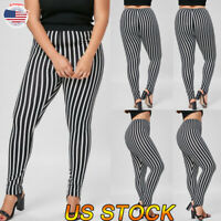 Plus Size Women's High Waist Striped Leggings Printed Elastic Stretch Long Pants