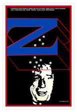 "Movie Poster for French film""z""Yves MONTAND.Costa Gavras art.Blue Zeta.Room wall"