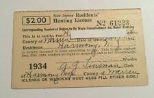 1934 Vintage New Jersey Resident Hunting & Fishing License