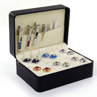 6 Pairs PU Leather Cufflinks Collect Tie Clip Storage Box Organizer Display  !