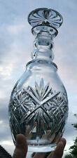 Stunning Deep Cut Crystal Glass Decanter with Mushroom Stopper & Ringed Neck