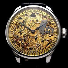 Vintage Men's Wristwatch OMEGA Swiss Stainless Steel Skeleton Mens Wrist Watch