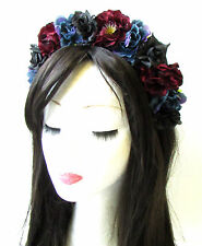Midnight Blue Black Burgundy Red Rose Flower Hair Crown Headband Goth Boho 1373