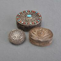 3er Set Silberdosen, Pillendosen, Silberfiligran 925er und 800er
