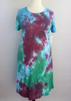 XL LuLaRoe Carly Dress Tie Dye Acid Wash Blue Green Purple Soft 100% Cotton 53