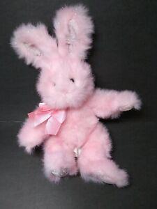 "Russ Berrie ""Cotton Candy"" Plush Bunny Pink Glitter Bow 11"" Stuffed Animal"