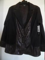 New Notations Choco Brown Jacket Womens Plus Size 1X
