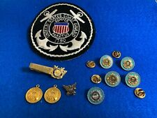 Lot Of 10 Vintage Uscg Coast Guard Patch, Pins, Tie Clip and Charms
