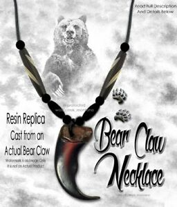 BEAR GRIZZLY CLAW NECKLACE WILD MOUNTAIN MAN RENDEZVOUS REPLICA - FREE SHIP #G5'