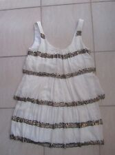 GEORGE 'Evening' Sequinned Tiered/ Layered Silk Dress Size 6 Cream/ Ivory