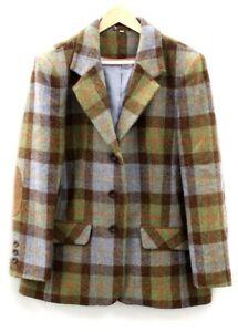 Ladies HARRIS TWEED Green & Blue 100% Wool Tweed Check Coat UK Size 18 S46