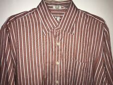 Peter Millar Dress Shirt Large Red Gold Blue Striped Button Front Long Sleeve