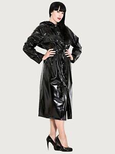 Maxi Belted PVC Raincoat with Hood