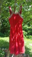 red cocktail prom dress short sleeveless formal sequin chiffon size medium 8/10