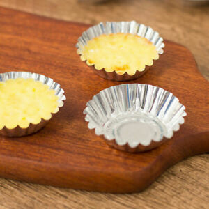 500pc Egg Tart Mold Disposable Foil Trays Muffin Cases Tins Aluminium Mold Cup