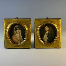 Antique Miniature Portrait of Napoleon and Empress Josephine