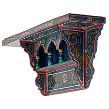 Painted Moroccan shelf, Wall Shelves Floating Shelves Blue Dark ,Rustic Floating