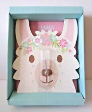 WHITE LLAMA FACE WALL CLOCK Floral Pink Aqua SHAPED HEAD 1x AA BATTERY NOT INC