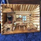 Vintage Folk Art Carved Wood 3D Diorama Shadow Box Cabin/Cottage Wall Hanging