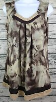 APOSTROPHE Women's Size Large Browns Watercolor Pattern Stretch Tank Top Blouse