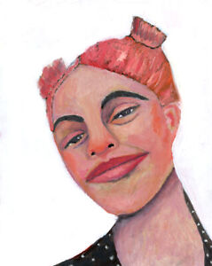 8x10 Print - Smiling Girl Pink Hair Pigtails Portrait Print Katie Jeanne Wood