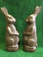 """Huge Chocolate Easter Bunny Rabbit 31"""" Inches Plastic Union Products PAIR"""