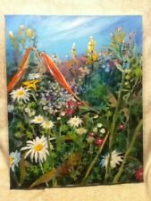 "Original 20 x 10"" Signed Brad Morgan Oil Painting Canvas Daisy Botanical Blu Sky"