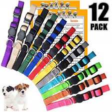 Set of 12 Puppy Collars Super Soft Nylon Whelping Puppy Id Adjustable Breakaway