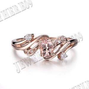 18k Rose Gold Fine Jewelry Special Round 5.5mm Morganite Real SI/H Diamonds Ring