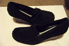 womens apt 9 andra black suede leather loafer wedge heels shoes size 9 1/2