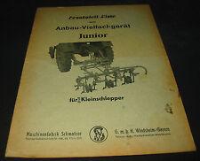 Ersatzteilliste Anbau Vielfachgerät Junior für Kleinschlepper Schmotzer Katalog