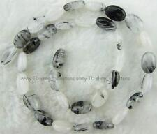 """8x12mm Smooth Oval Flat Faceted Black Rutilated Gemstone Beads 15"""""""