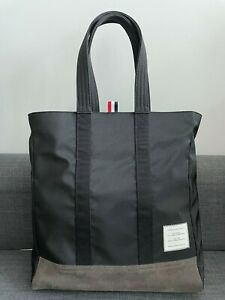 Thom Browne Classic Unstructured Tote Bag in Nylon and Suede
