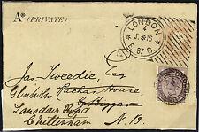 1887 1d Rosa sobre a Biggar, norte de Gran Bretaña, redirigido a Cheltenham..