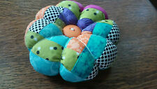 """Pin Cushion Scrappy Pieced Homemade-5 1/2"""" in diameter"""