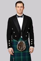 "Scottish Mens Prince Charlie Kilt Jacket with Waistcoat/Vest - Sizes 36""- 54"""