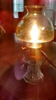 Converted Oil Lamp With Pot Belly Hurricane Shade - Clear