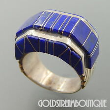 VINTAGE NAVAJO SIGNED STERLING SILVER LAPIS LAZULI MOSAIC INLAY GEOMETRIC RING 7
