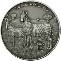 Kongo 1000 Francs 2015 Zebra Silver Ounce Antique Finish