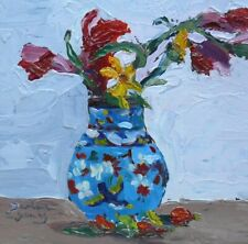 Roses in a Bluebird Vase,  6x6, Oil , Darlene Young Canadian Artist