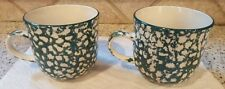 Set of 2 Tienshan Coffee Mugs Folk Craft APPLE Pattern Coffee Mugs Green Sponge