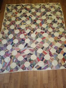 Vintage Quilt Hand Stitched 78x69  Full Size Cotton