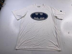 Under Armour Mens Heat Gear Loose White Batman Short Sleeve Shirt Size Medium