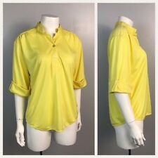 Vintage Nos 1960s 1970s Vibrant Yellow Button Up Tunic Blouse Top Unworn M
