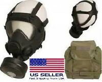 French Military ARF-A MP5 Gas Mask Respirator w/ 40mm Filter, Drinking Tube +Bag