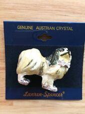 Austrian Crystal JAPANESE CHIN Dog Lover Enamel Pin by Lanren-Spencer Laura
