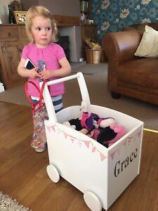 Girls Toy Box Push Walker Storage Trolley  Pink (new Factory Slight Seconds)