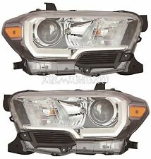 TOYOTA TACOMA BLACK 2016 2017 HEADLIGHTS HEAD LIGHTS FRONT LAMP W/O DRL PAIR SET